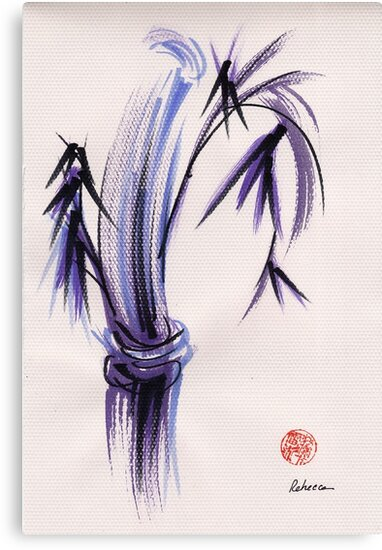 """""""rhythm and grace"""" - Zen watercolor sumi e bamboo painting by Rebecca Rees"""