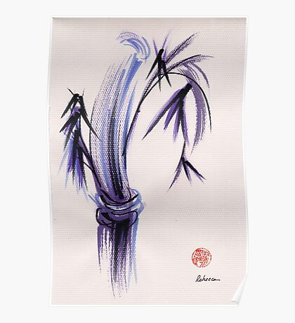"""""""rhythm and grace"""" - Zen watercolor sumi e bamboo painting Poster"""
