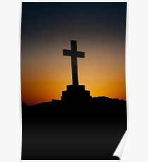 Daybreak behind cross Poster