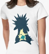PKMN Silhouette - Cyndaquil Family Womens Fitted T-Shirt