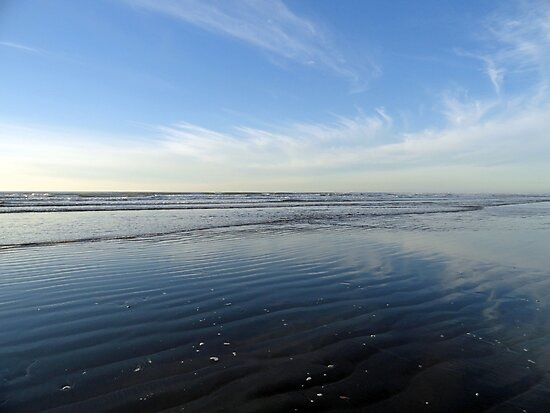 Quinault Beach Patterned Reflection  by Robert Meyers-Lussier