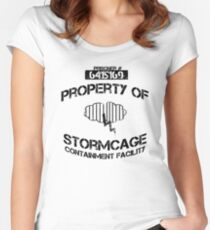 Stormcage Containment Facility Black Writing Women's Fitted Scoop T-Shirt