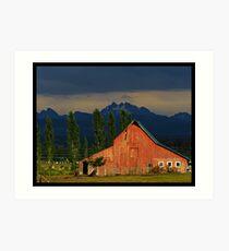 Old Barn and Cascades Art Print