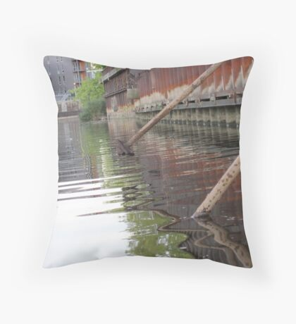 Rusted Industry and Nature Throw Pillow