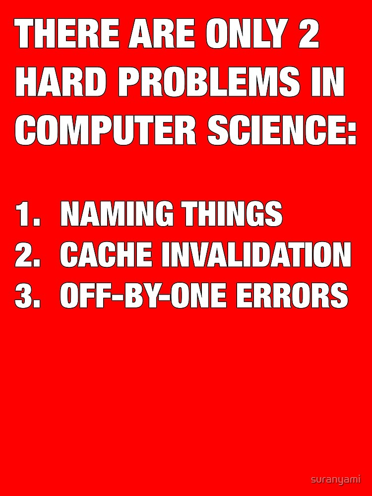 Only 2 hard problems in computer science by suranyami