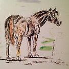 Pen and ink  horse by Bonnie Pelton
