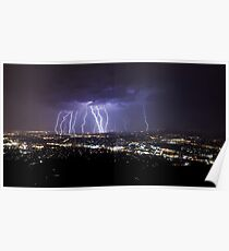 Mt Dandenong Victoria - Thunder Storm Lightning from Skyhigh October 2015 Poster