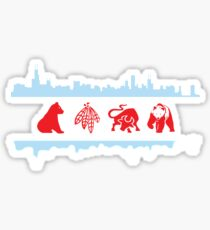 Chicago Flags with Teams and Skyline Sticker