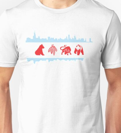 Chicago Flags with Teams and Skyline Unisex T-Shirt