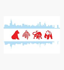 Chicago Flag with Logos and Skyline Poster Photographic Print