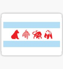 Chicago Flag with Logos Poster Sticker
