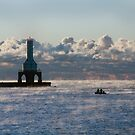 Morning mist-Port Washington on Lake Michigan by Sue Justice