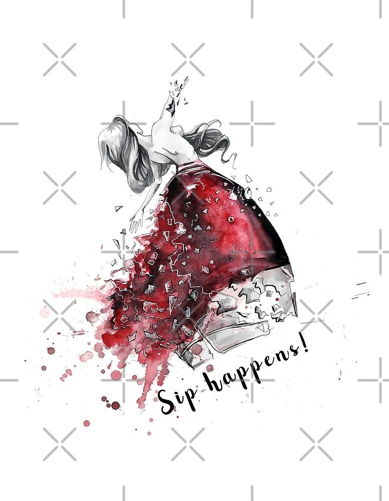 Wine lover design called Sip happens! by AV-art