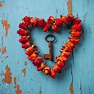 Small rose heart wreath with key by Garry Gay