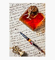 Ink bottle and pen  Photographic Print