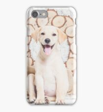 Lab Puppy with Christmas Wreath On a Cable Knit Blanket -Animal Rescue Portraits iPhone Case/Skin