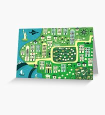 Cartoon Map of New York Greeting Card