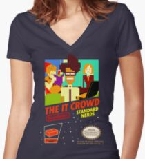 The IT Crowd NES game Women's Fitted V-Neck T-Shirt