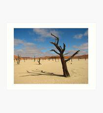 Dead camelthorn trees in Deadvlei, near Sossusvlei, Namib-Naukluft National Park, Namibia, Africa Art Print