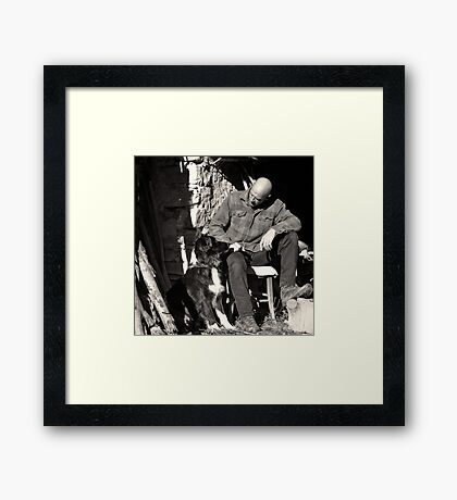 A man and his dog Framed Print