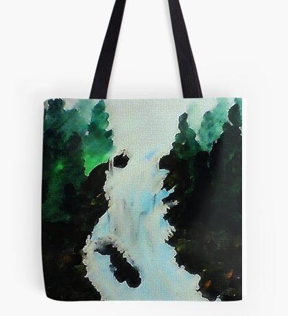 Waterfall among the Pines, watercolor Tote Bag