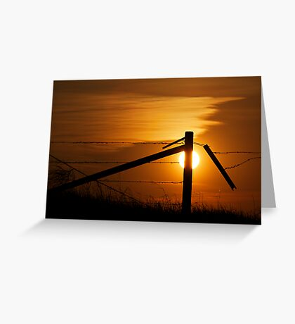 Prairie Fence At Sunset Greeting Card
