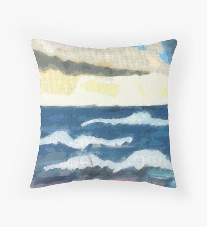 Ocean scene,  in 1/2/  pencil and Watercolor Throw Pillow
