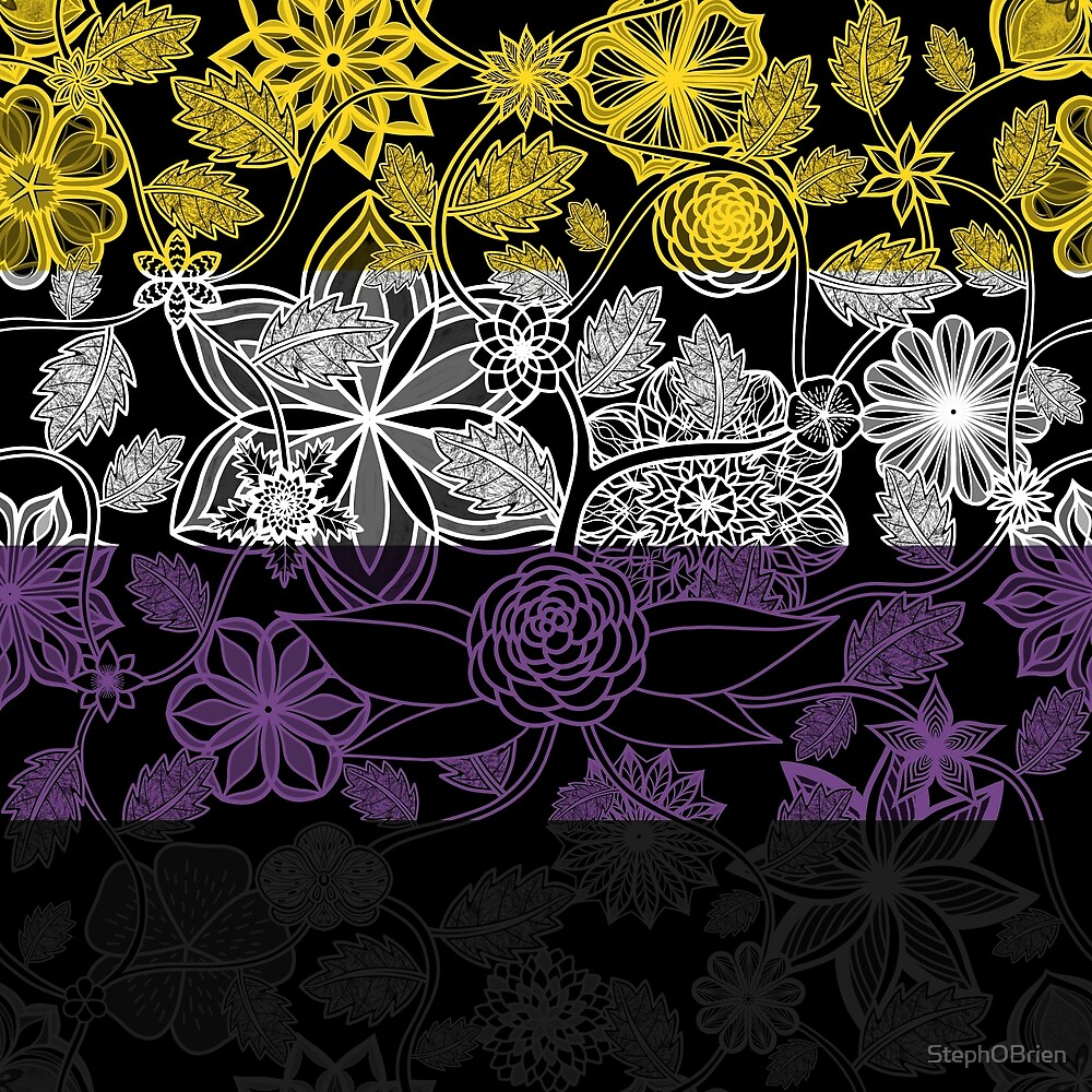 Flight Over Flowers of Fantasy - Nonbinary Pride Flag by StephOBrien