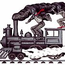 Crazy raise on the vintage steam locomotive surreal black and white drawing by Vitaliy Gonikman