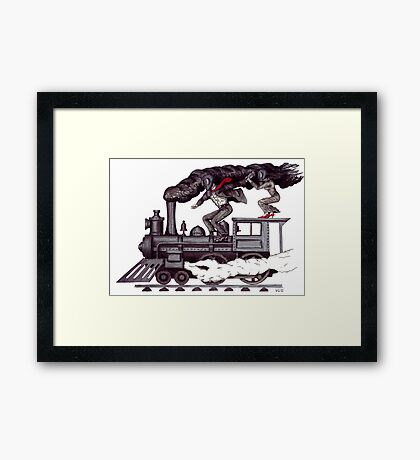 Crazy raise on the vintage steam locomotive surreal black and white drawing Framed Print