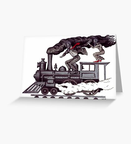 Crazy raise on the vintage steam locomotive surreal black and white drawing Greeting Card
