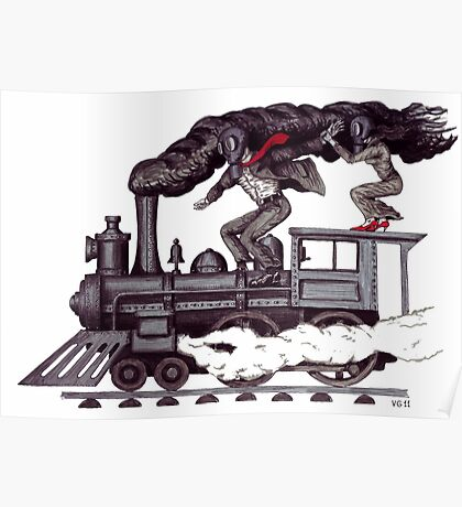 Crazy raise on the vintage steam locomotive surreal black and white drawing Poster