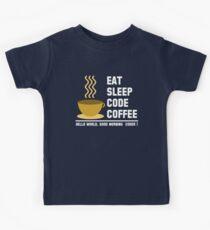 Programmer: eat sleep code coffee - hello world - light Kids Tee