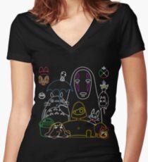 Ghibli mix v2 Women's Fitted V-Neck T-Shirt