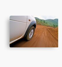 New Caledonia, Grand Terre Island, car on road (blurred motion) Canvas Print
