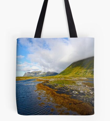 """5 ★★★★★ . Landscape from heaven. Lofoten.Gimsoystaumen Bridge. Norway. by Brown Sugar. Views (410).  thank you ! has been featured in """"Boats, Beaches, Bays!"""" Tote Bag"""
