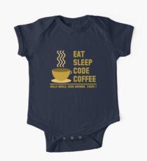 programmer : eat sleep code coffee - hello world - gold One Piece - Short Sleeve