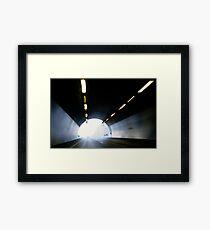 Traffic in road tunnel (blurred motion) Framed Print