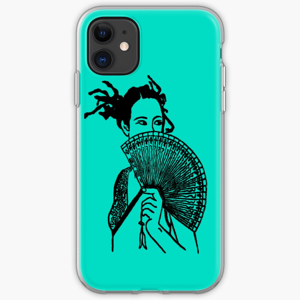 """Geisha Girl"" (aqua) - phone iPhone Soft Case"