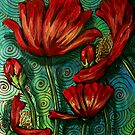 Red Poppies on Green by Cherie Roe Dirksen