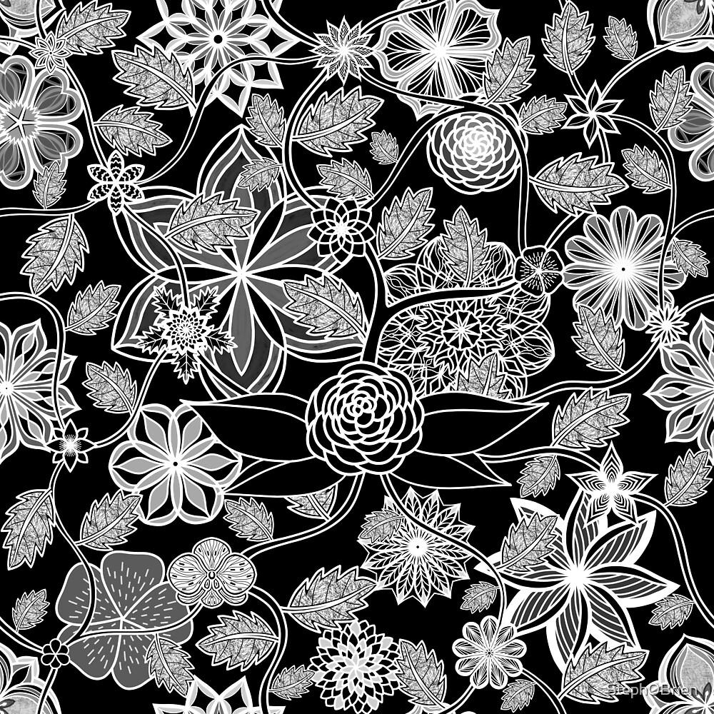 Flight Over Flowers of Fantasy - White on Black by StephOBrien