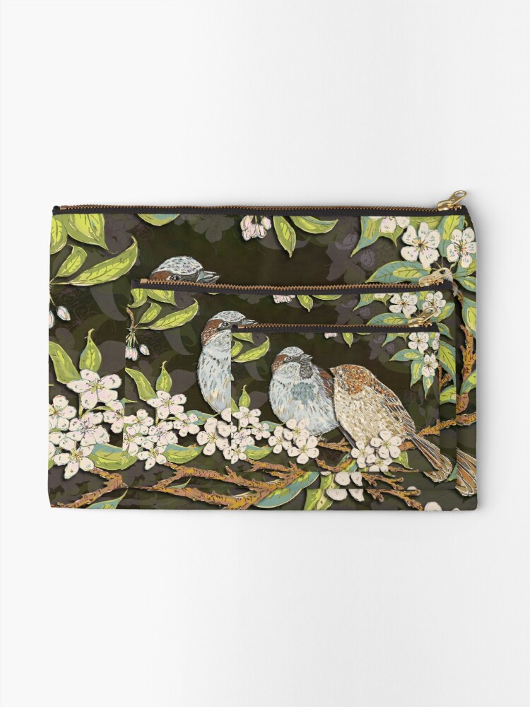 Alternate view of Sparrows in the Plum Tree Zipper Pouch