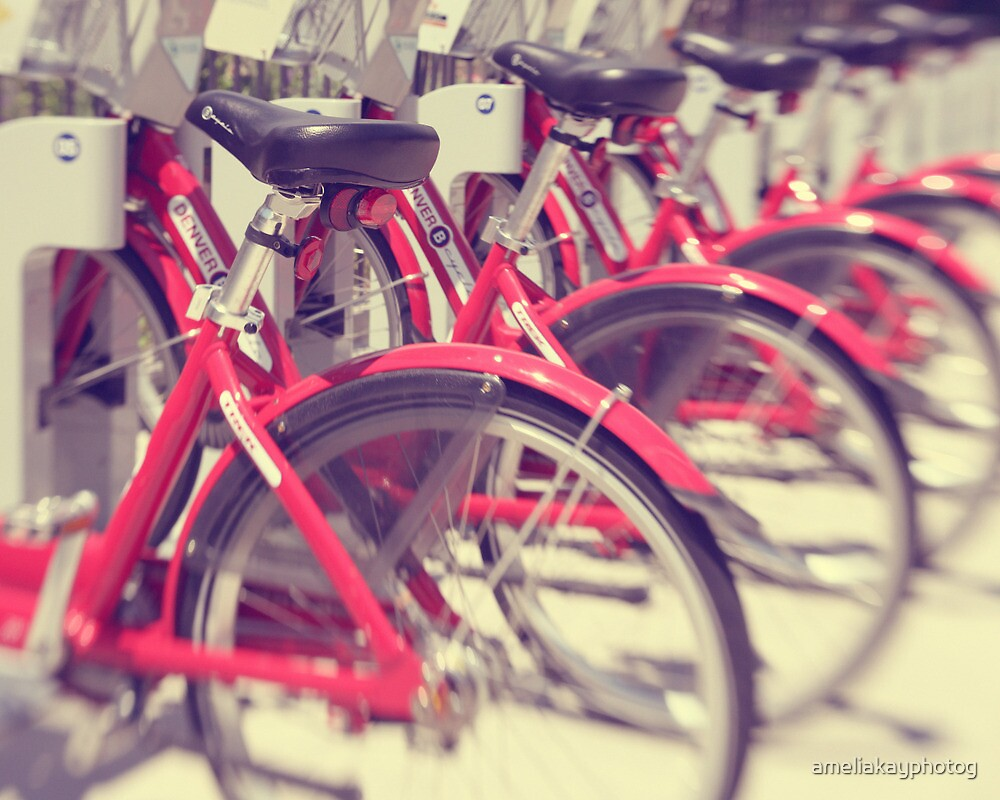 Lets Go for a Ride - red bicycles lined up by ameliakayphotog