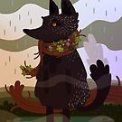 Black Fox in the Rain by jaffajam