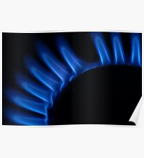 Lit blue gas ring, close-up Poster
