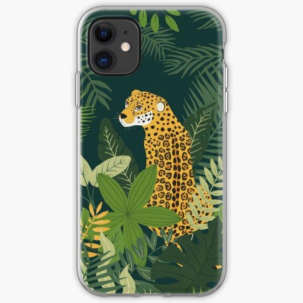 Jaguar in a Jungle on Green iPhone Soft Case