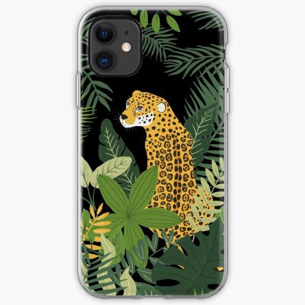 Jaguar in a Jungle on Black iPhone Soft Case
