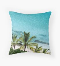 Palm Trees Against Cristal Blue Water Throw Pillow