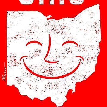 Ohio Makes Me Smile! Cool Vintage Retro Tee by WillRuocco
