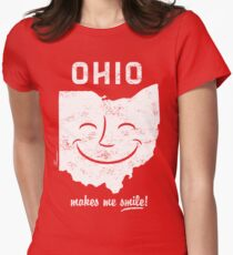 Ohio Makes Me Smile! Cool Vintage Retro Tee Womens Fitted T-Shirt